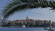 View of Luka Korculanska Bay and Korcula Old Town, Korcula, Dalmatia, Croatia, Europe