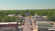 MS AERIAL View of main street and courthouse / Cottonwood Falls, Kansas, United States