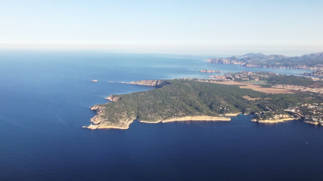 View of Majorca island from airplane
