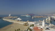 WS ZI View of Malagueta beach with terminal in background / Malaga, Andalusia, Spain