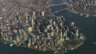 AERIAL WS View of Manhattan / New York City, New York, USA