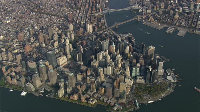 AERIAL WS View of Manhattan / New York City, New York, USA