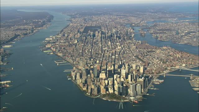 AERIAL WS ZI View of Manhattan / New York City, New York, USA