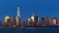T/L View of Manhattan's skyline and the One World Trade Center at twilight