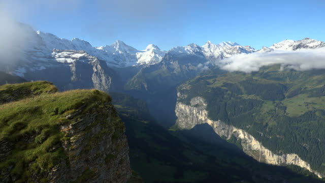 View of Mannlichen to Lauterbrunnen Valley, Bernese Alps, Switzerland, Europe