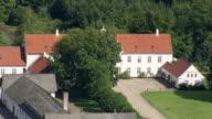 WS AERIAL ZI ZO PAN View of Manor Houses near Logten / Arhus, Denmark