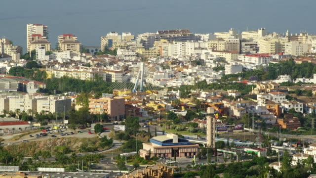 WS PAN ZI View of Marbella in center surrounding with Mediterranean sea / Marbella, Andalusia, Spain