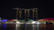 WS View of Marina bay sands hotel light show at night / Singapore