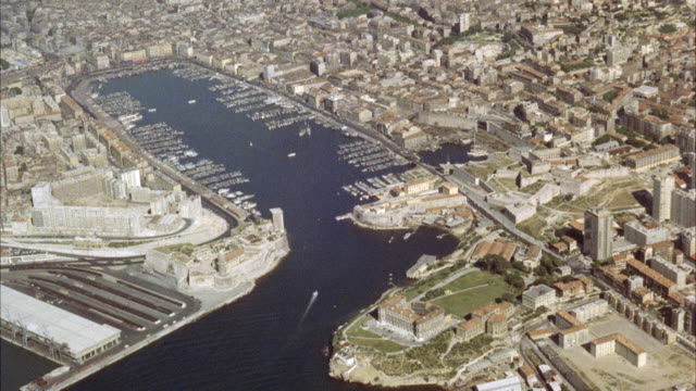 MS AERIAL View of  marseille harbor and city