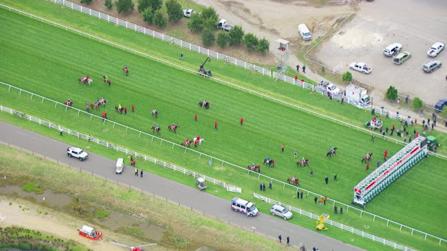 WS AERIAL View of Melbourne cup horse racing / Melbourne, Victoria, Australia