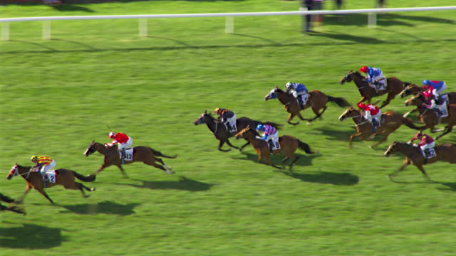 MS AERIAL ZO SLO MO TS View of Melbourne cup horse racing / Melbourne, Victoria, Australia
