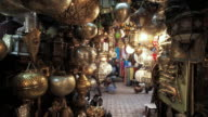 CU T/L View of Metal decorative lamp stall in market place / / Marrakech, Morocco