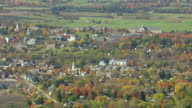 WS AERIAL ZI ZO PAN View of Middlebury College in city / Vermont, United States