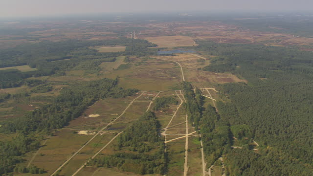 WS AERIAL View of military training camp with landscape / Germany