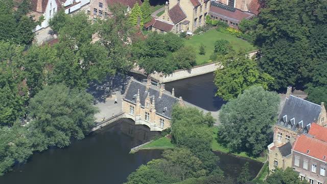 MS AERIAL ZO View of Minnewater park / Flanders, Belgium