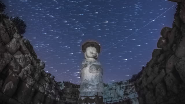View of Mireungni stone Buddha figurine (Korean Treasure 96) and milky way in star field