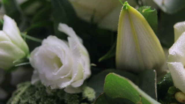 MS PAN View of Mixed bouquet of white flowers / London, United Kingdom