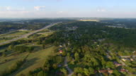 WS AERIAL View of mixed suburban and highway, rural development in north suburbs / Chattanooga, Tennessee, United States