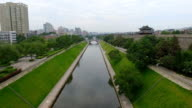 AERIAL View of Moat and city wall/ Xi'an, Shaanxi, China