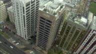 WS PAN AERIAL View of modern skyscrapers and city streets / Abu Dhabi, Abu Dhabi, United Arab Emirates