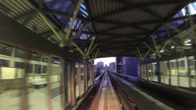 MS POV T/L View of monorail,Yurikamome / Odaiba, Tokyo, Japan