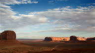WS T/L PAN View of Monument Valley and clouds moving over / Monument Valley Tribal Park, Arizona, United States