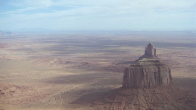 AERIAL WS POV View of monument valley / Unspecified