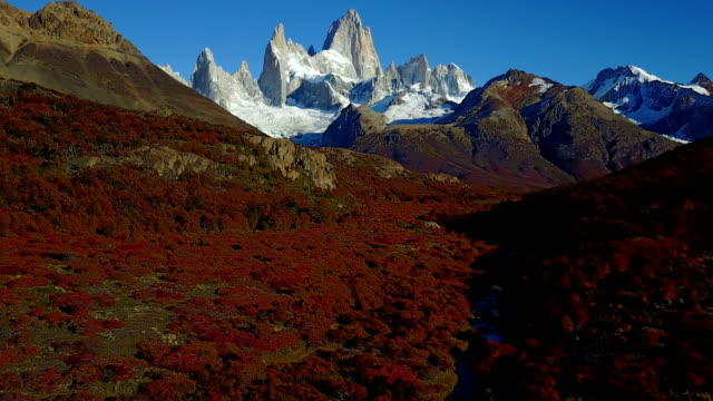 View of Mount Fitz Roy from the air. Autumn dawn. Patagonia, Argentina