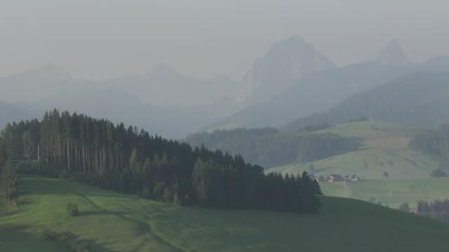 WS POV  View of mountains / Etzel, Schwyz, Switzerland