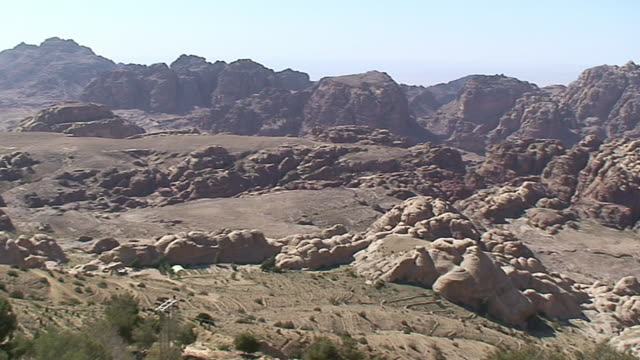 WS PAN View of Mountains over Petra / Petra, Jordan