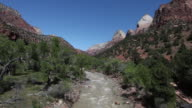 MS  View of moving spring river / Zion National Park, Utah, United States