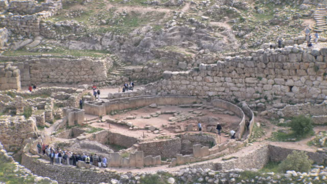 MS AERIAL ZO View of Mycenae archaeological site near Argos / Mycenae, Peleponnesus, Peloponnese, Greece