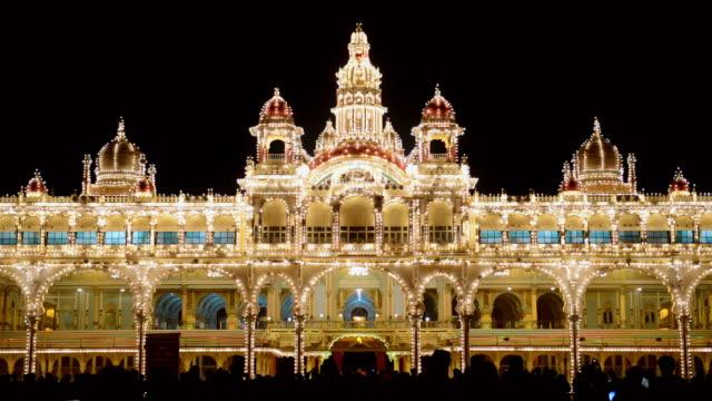 WS View of Mysore Palace at night time / Mysore, Karnataka, India