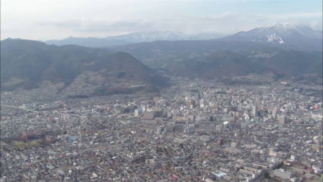 AERIAL WS View of Nagano city / Nagano, Japan