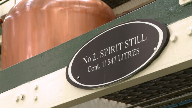 MS View of name plate in  whisky factory / Rothes, Speyside, Scotland