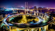 T/L MS HA View of Nanpu Bridge at Night / Shanghai, China