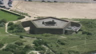 MS AERIAL DS PAN View of Napoleonic Fort at Ostend beach / Flanders, Belgium