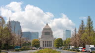 WS T/L View of National Diet Building and clouds / Minato ku, Tokyo, Japan