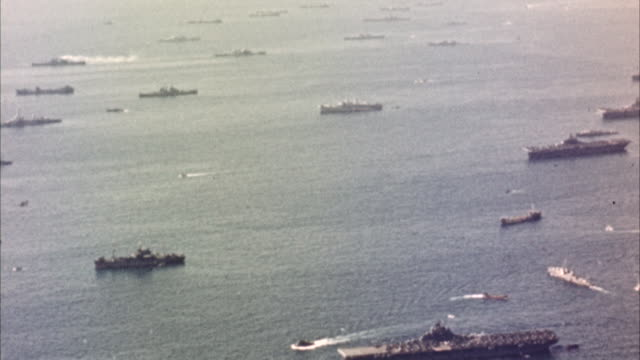 WS ARIAL View of  Navy ships in ocean