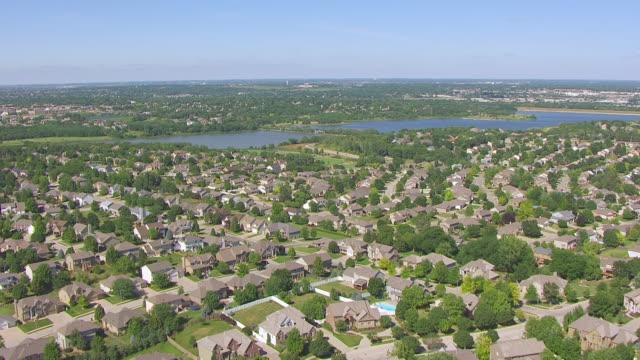 WS AERIAL View of Neighborhood on outskirts of Omaha / Omaha, Nebraska, United States