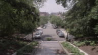 WS View of neighborhood street from the Spanish Steps / Washington DC, United States