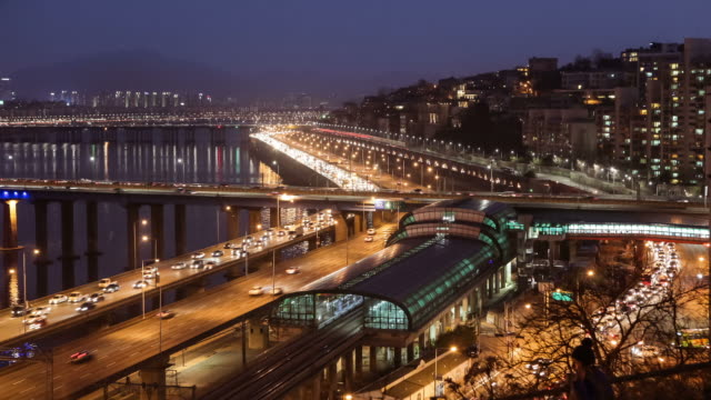 WS T/L View of Night Scenery of Ganbyeonbugno Expressway and Hannam station area / Seoul, South Korea