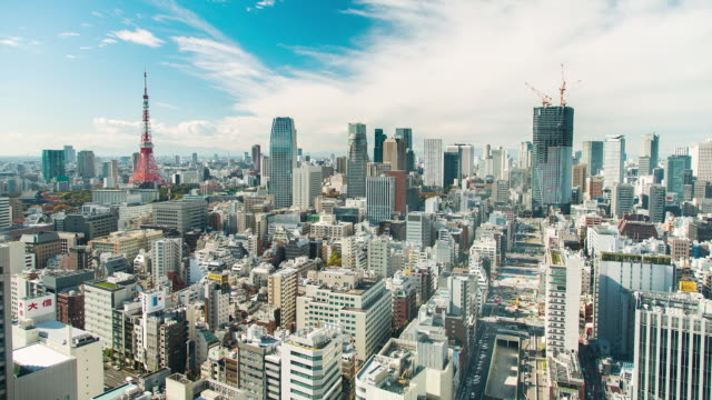WS T/L View of night transition over kamiyacho and roppongi 1-chome business districts / Tokyo, Japan