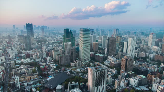WS T/L View of night transition over kamiyacho and roppongi one chome business districts / Tokyo, Japan