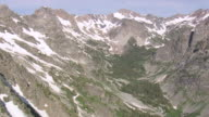 WS AERIAL View of North fork snowshoe canyon / Wyoming, United States