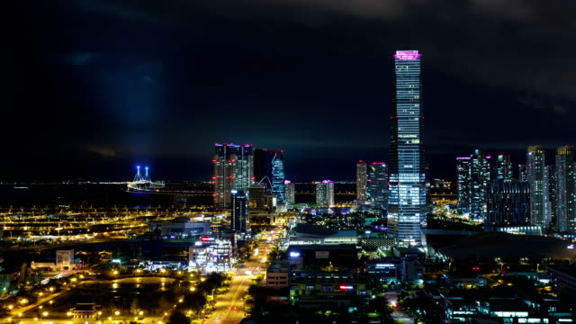 View of Northeast Asia Trade Tower (Second tallest building in Korea) and Songdo Island (International Business District) at night
