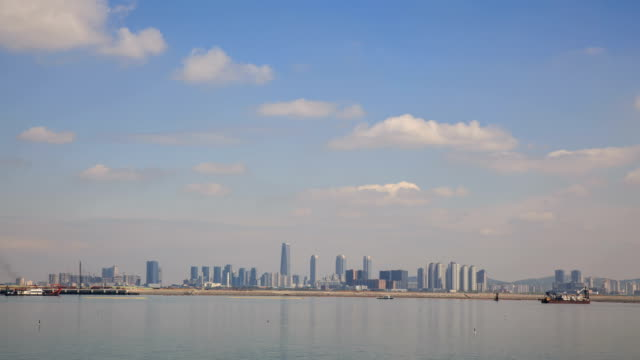 View of Northeast Asia Trade Tower (Second tallest building in Korea) and Songdo Island (International Business District) in distance
