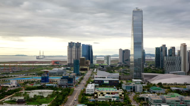 View of Northeast Asia Trade Tower (Second tallest building in Korea) and Songdo Island (International Business District)