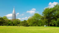 WS T/L View of ntt docomo communication tower and japanese flag seening from yoyogi park with people relaxing on grass / Tokyo, Japan