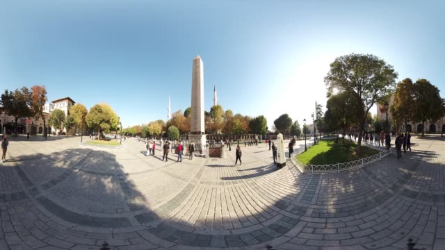 360 VR view of Obelisk in Sultanahmet Square in Istanbul Turkey October 20 2017 The Obelisk was brought back from Egypt in AD390 and could be planted...